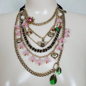 Betsey Johnson Floral Busy Bee Ribbon Necklace